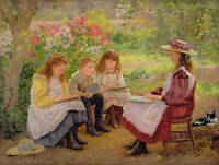 Art Oil painting portraits young teacher with children in spring Hand painted