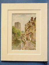 FISHER ROW AND REMAINS OF OXFORD CASTLE VINTAGE DOUBLE MOUNTED HASLEHUST PRINT