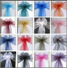 PREMIUM QUALITY WEDDING CHAIR COVER SASHES BOWS ORGANZA NEW UK