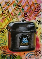 ACEO original miniature painting ~ Feral Kitty inside Kitty Tube Shelter