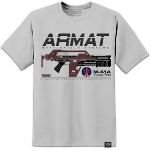 Aliens M41A ARMAT Pulse Rifle Movie T Shirt Mens Weyland Yutani Nostromo LV426 .