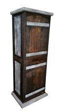 Crusaders Rustic White Wash Curved Doors Bathroom Vanity linen cabinet