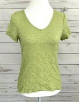 Jaclyn Smith Top Womens Small S Green Solid V-Neck Short Sleeve Blouse Cotton