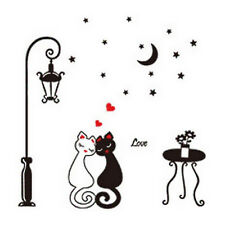 Black Cat Love Hearts Cute Cartoon Animal Wall Art Vinyl Decal Sticker Transfer