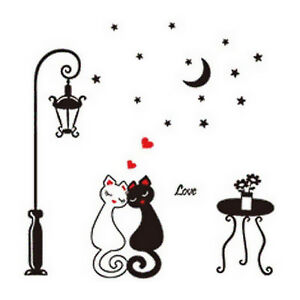 Black Cat Love Hearts Cute Cartoon Animal Wall Art Vinyl Decal Sticker Transfer