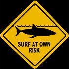 Metal Shark Warning SURF AT OWN RISK Street Sign Beach Bar/Pub/Shop Wall Decor