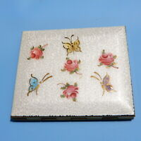 Vtg GUILLOCHE ENAMEL COMPACT White w/ Butterflies & Pink Roses Powder Rouge EUC