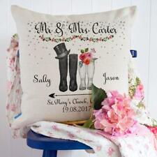 Personalised Wedding Gift Wellies Cushion Cover Couple Anniversary Mrs & Mr KC62