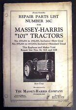 Massey Harris 101 Tractors Parts Catalog