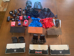 WWE Mattel Basic Elite Wrestling  Figure Accessories Clothes Announcer Table Lot