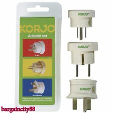 Korjo Adaptor Set 3 Plugs -Travel From AU AUS Australia/NZ TO EUR EU/UK/USA US