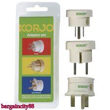 Korjo Adaptor Set 3 Plugs -Travel From AU AUS Australia/NZ TO EUR EU/UK/USA US