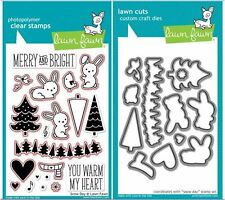 Lawn Fawn Photopolymer Clear Stamp & Die Combo ~ SNOW DAY Winter ~ LF723,724