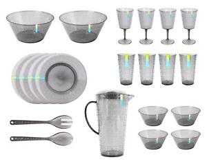 21pc Picnic Set 4 Person Reusable Plastic Glitter Grey Summer Party Barbecue