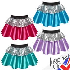 "Girl ROCKSTAR POP STAR Costume 12"" SATIN silver SEQUIN Skirt FANCY DRESS COSTUME"