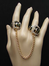 Damen Gold Neu Schwarz Metall Leopard Gürtel Trendige Mode Zwei Finger Ring