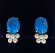 14ct Yellow Gold Turquoise and Cultured Pearl Clip On Earrings- 20 mm x 10 mm