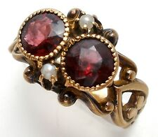 Ostby & Barton Antique Garnet Pearl Ring 10K Yellow Gold Size 5.5 Signed OB