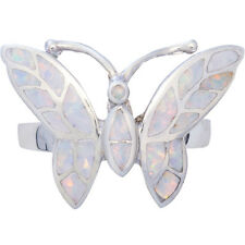 BUTTERFLY RING WITH CRUSHED WHITE OPAL RESIN 925 SILVER FROM ARI D NORMAN