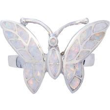 Anello Farfalla con Opale Bianco schiacciato resina 925 Argento da ARI D Norman