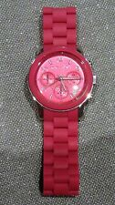 HOT PINK MICHAEL KORS WATCH MK-5206 ALL STAINLESS STEEL 10ATM WRIST RUBBER CHIC