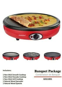 Portable Electric Stove Suit Camping Outdoors 1000W w/3 Cooktops Grill Omelette