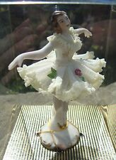 Vintage Dresden Lace Ballerina Figurine 12cm Tall - Original Box - Never Opened