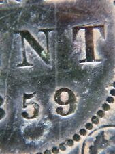 1859 W 9/8 Canada Large Cent Coin , Canadian One Cent