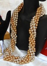 TWISTED GOLD/CHAMPAGNE MAJORCA/MALLORCA PEARL NECKLACE GOLD CLASP faux majorica