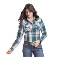 Wrangler Women's Emerald Green Plaid Long Sleeve Western Shirt LW8045M