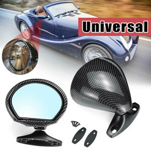 1Pair ABS Car Classic Door Wing Side View Plane Mirror Blue Anti-glare Universal