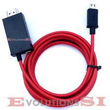 CABLE ADAPTADOR MHL MICRO USB A HDMI 2M HD TV PARA SAMSUNG GALAXY S4 COLOR ROJO