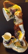 Vintage Standing Capodimonte Fountain Figurine Over 2' Tall Boy Gathering Grapes