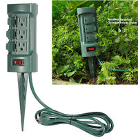 Outdoor Power Strip Weatherproof 6 Outlet With Waterproof Cover 9 Ft Cord