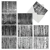 WHITEWOODS: 10 Assorted Blank Note Card Set - Stationery Notecards Forest Trees