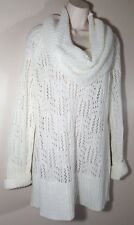 ELLE Woman's Large Cowl Neck Sweater Wool Mix Cream Long Crochet Light