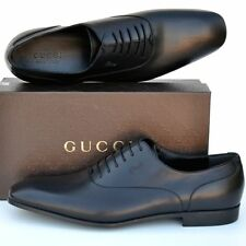 GUCCI New Mens Shoes sz 14.5 - US 15.5 Authentic Designer Black Leather Oxfords