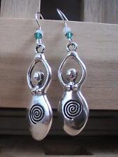 pagan earrings fertility goddess spiral BLESSED pregnancy luck silver tribal