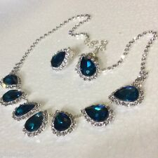 """SET Crystal Necklace 20"""" & CLIP ON Earrings, Aqua & Clear, Silver Plated BOXED"""