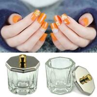 Crystal Glass Nail Art Acrylic Dappen Dish Cup To-S S6T6 Lid Powder Y5X9