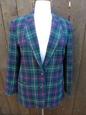 Vintage Pendleton Plaid Green Red Blue Virgin Wool Blazer Jacket 12