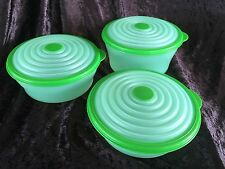 TUPPERWARE LIME GREEN ROUND MODULAR MATES STUFFABLES STUFFABLE SET OF 3