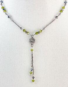 """Cute Gunmetal Gray & Green Bead Y Drop Dainty Necklace 17"""""""