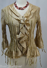 AGORA Unique Gold Crinkly Button Shirt Blouse pleated 3/4 slv ruffle Bead PM NEW