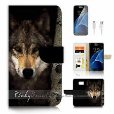 ( For Samsung S7 ) Wallet Case Cover P0784 Wolf