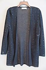 ST JOHN EVENING Marie Gray Black Crochet Sequin Cardigan Size 8
