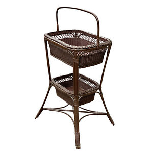 Vintage Victorian Wicker Rattan Basket Sewing Stand