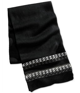 Club Room Men's Knit Scarf in Black/Grey, Retail $42.00