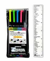 Bible Coloring Marking Kit Markers Flugrescent Pigment Ink (Set of 5 + Ruler)