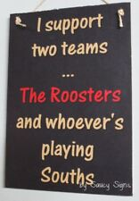 Sydney Easts Roosters versus Souths Retro Footy Sign - Jersey Cards Shorts Etc